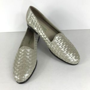 Trotters 8 N Narrow Flats Loafers Woven Leather